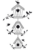 birdhouses with tree branches, vector