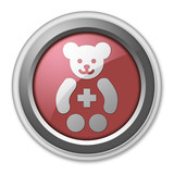"Red 3D Style Button ""Pediatrics"""
