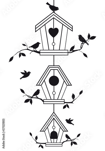 Foto op Aluminium Vogels in kooien birdhouses with tree branches, vector