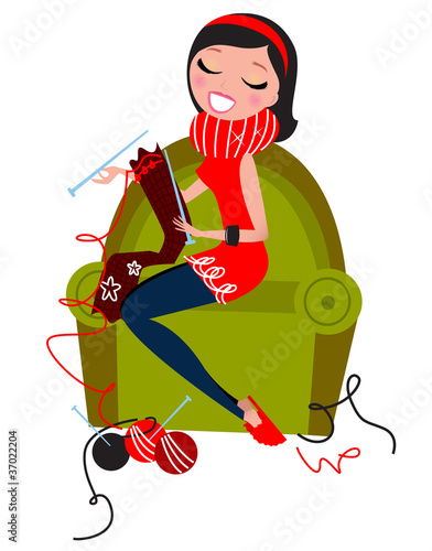 Beautiful woman knitting hand made knitwear isolated on white.