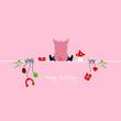 """Sitting Pig & Symbols """"Happy Birthday"""" Pink"""