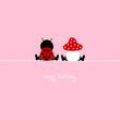 "Sitting Ladybug & Fly Agaric ""Happy Birthday"" Pink"