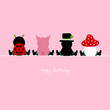 "Ladybug, Pig, Chimney Sweeper & Fly Agaric ""Happy Birthday"" Pink"