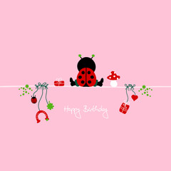 "Sitting Ladybug & Symbols ""Happy Birthday"" Pink"