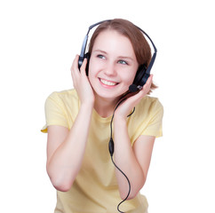 Happy young  woman wearing headset