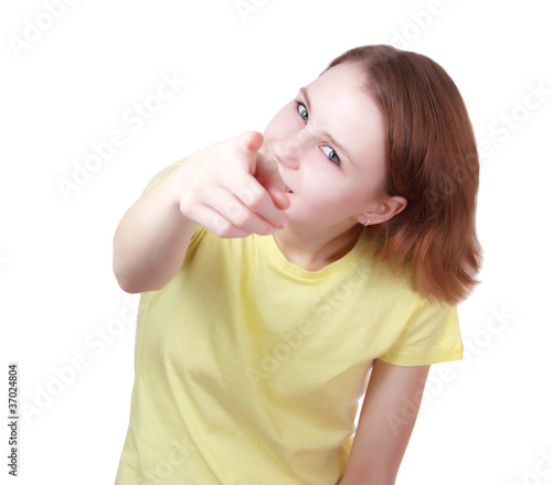Young woman   pointing to viewer