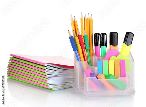 Bright stationery isolated on white