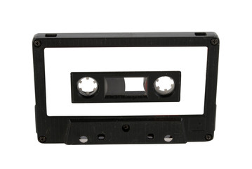 Audio cassette and label isolated with clipping path