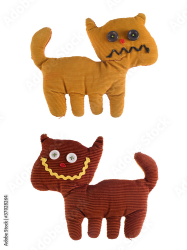 Angry and happy fabric teddy cat