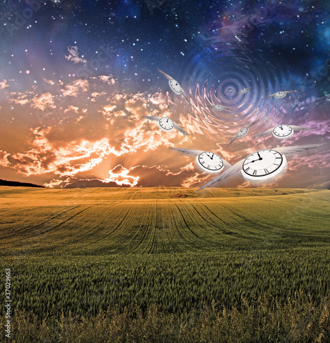 Winged clocks fly into sky creating ripples