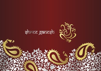 Ganesh, traditional Hindu wedding card design, Rajasthan