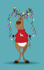 Reindeer holding a line of light-bulbs