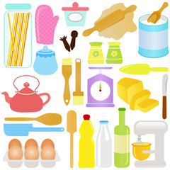 cute Vector Icons : Cooking, Baking Theme, isolated on white
