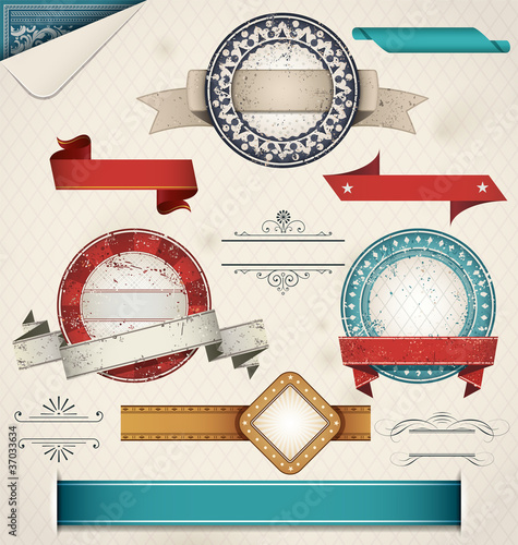 Vintage Grungy Design Elements. Vector Illustration.