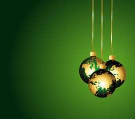 Beautiful green ornaments with golden globes