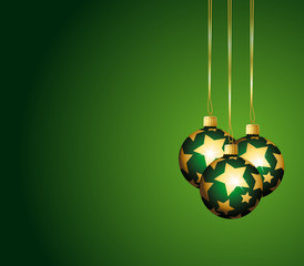 Beautiful green ornaments with golden stars