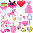 set of Vector Icons : Sweet Pink Princess Set for Diva