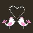 Two birds sing about love. A vector illustration