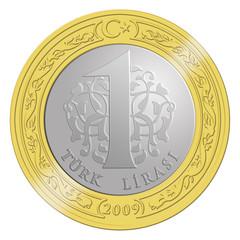 Metal 1 Türk Lirası Para Birimi İllüstrasyonu