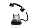 Old fashioned telephone on white background