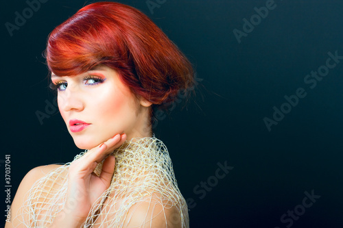 Glamour portraiture of beauty red hair woman girl