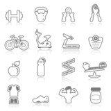 Icons set Fitness - outline series