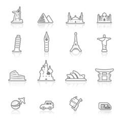 icons set  landmark - outlines series