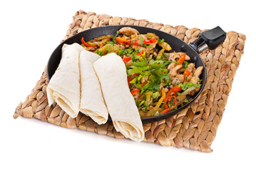 traditional mexican beef fajitas with tortillas