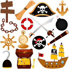 A colorful vector Theme of Pirate, equipments, sailing