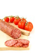 Fresh sausage, salami on white background