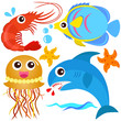 A colorful set of cute Animal Vector Icons: Fish, Sea life
