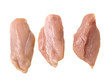 three raw chiken meat breast slices isolated on white