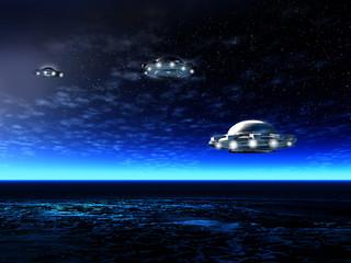 Night fantastic landscape, UFO
