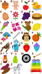 Back to school: Vector Alphabet A to Z - Dictionary for Kids