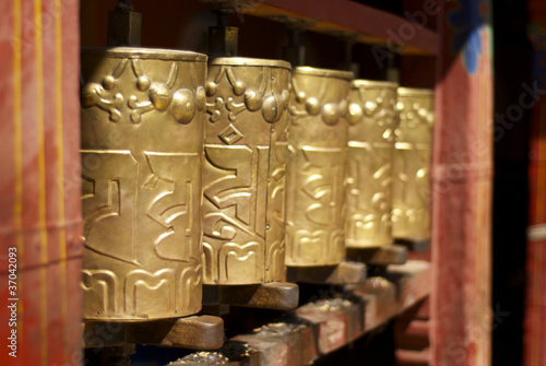 Prayer wheels at the Drepung Monastery