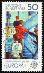 Postage stamp Germany 1975 Bauhaus Staircase