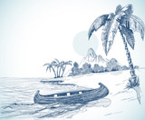 Fototapety Beach sketch with boat on shore