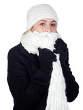 Blonde woman with a white scarf