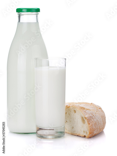 Milk bottle, glass and bread