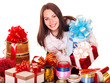 Girl with group of color gift box.