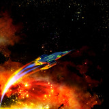 red-hot spaceship and nebula