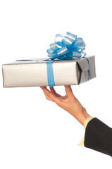 grey box with blue bow as a gift