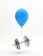 Blue balloon lifting a heavy dumbbell
