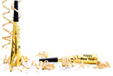 New Years Eve party noisemaker border poster