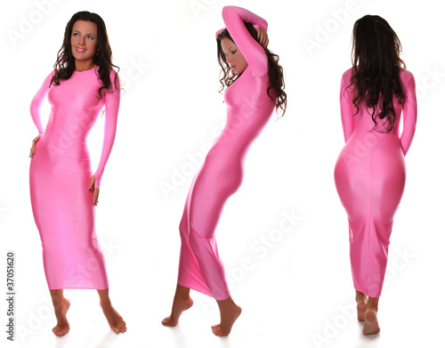 Sexy Beautiful Barefoot Girl in Pretty Pink Spandex Long Dress