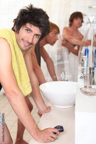 Young men in the bathroom