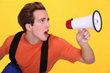 Man shouting into megaphone