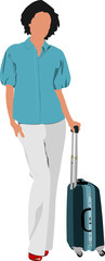 Business woman with suitcase. Vector illustration