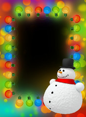 Frame of Christmas lights with snowman