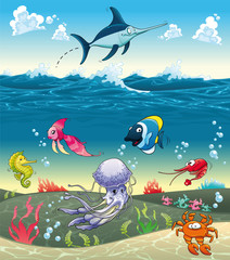 Under the sea with fish and other animals. Vector illustration